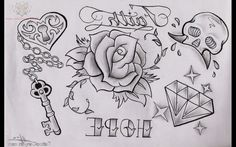 Diamond And Rose Tattoo Outline Black Rose Tattoo For Men, Rose Tattoos For Men, Black Rose Tattoos, Tattoos For Guys, Cool Tattoos, Tattoo Stencil Designs, Rose Tattoo Stencil, Tattoo Outline, Best Tattoo Designs