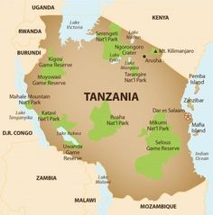Tanzania political map features regions boundaries with their