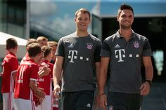 Manuel Neuer and Sven Ulreich goalkeepers of FC Bayern arrive for the Audi car handover at Audi Forum on August 22 2016 in Ingolstadt Germany