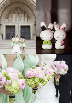green bridesmaid dresses with adorable pink rose and green hydrangea bouquets. via style me pretty.