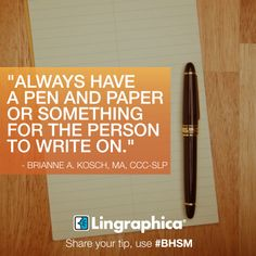 #BHSM tip: Use a pen and paper when talking with me! #aphasia #communication #speech #speaking #tips #slp #slpeeps #talking