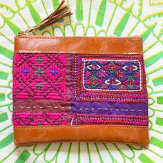 Vintage Banjara Clutch in Pink and Purple