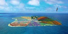 Une île en plastique recyclable