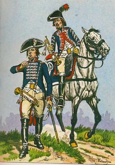 French; Line Cavalry, Trumpeters, 13th & 4th Regts, Grande Tenue, 1800-03