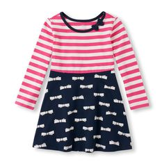 Toddler Girls Long Sleeve Striped & Bow Print Dress