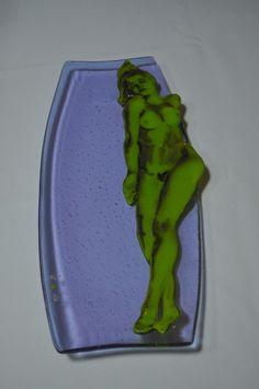 "Nude Reclining, Neo Lavender Dish  18""x7"". Multi process fused glass platter. ©Linda Humphrey / KilnForms."