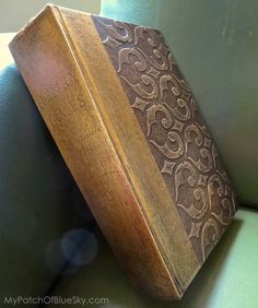 DIY make a new book look like an old antique book. Gorgeous!! Wood Icing™ - book - project - stencil