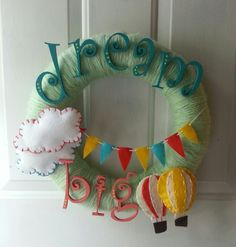 Hot air balloon yarn wreath