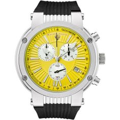 Swiss Legend Men's 10006-07Y-SB Legato Cirque Collection Chronograph Rubber Watch Swiss Legend. $129.99. Durable mineral crystal; brushed and polished stainless steel case; black rubber strap. Yellow textured dial with silver-tone luminous hands and hour markers; silver sub-dials; tachymeter on inner bezel; screw-down crown. Precise Swiss-quartz movement. Water-resistant to 330 feet (100 M). Chronograph functions with 60 second, 30 minute and 1/10 of a second sub-dials; d...