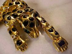 Beautiful Gold tone and Rhinestone Leopard Shoulder Pin  $35 USD
