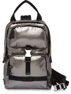 69177c5615a Shop Prada technical fabric metallic backpack Metallic Backpacks, Prada Men,  Luggage Bags, Pocket