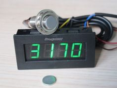 Tachometer RPM Speed 5-9999RPM Digital LED Tacho Gauge  Meter 12v car + Hall Proximity Switch Sensor + Magnet green