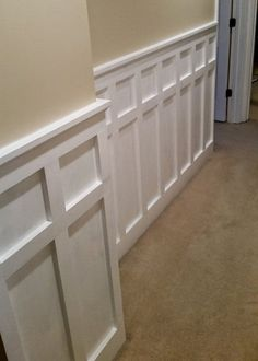 How to Install Board and Batten Wainscoting (White Painted Square over Rectangle. How to Install Board and Batten Wainscoting (White Painted Square over Rectangle Pattern) - One Project Closer Installing Wainscoting, Painted Wainscoting, Dining Room Wainscoting, Wainscoting Ideas, Wainscoting Nursery, Rustic Wainscoting, Wainscoting Panels, Wainscoting Height, Black Wainscoting