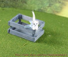 OOAK Dollhouse Miniature Pet Kitten White Head Rotates Handcrafted Animal1:12  #Handmade