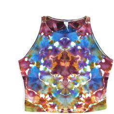 S, M, L Ice Tie Dye Spring Earth Kaleidoscope Mandala Crop Top Hippie... ($28) ❤ liked on Polyvore featuring tops, tie dye tank tops, cut-out crop tops, tye dye tank top, yoga tank top and hippie tops