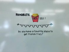 mrsws_whiteboards: Hi y'all! Sorry I've been missing for a few weeks. I'll spare you the details and get back to my regular posts last Friday was #favoritefryday do you have a favorite place to get French fries? #ilovefries #givemeallthefries #innout #chickfila #mcdonalds #allofthem #frenchfries #iteach #iteachtoo #iteachfourth #whiteboardinspiration #teachersfollowteachers #teachersofinstagram #mrswswhiteboard #miss5thswhiteboard