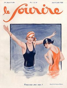 Suzanne Meunier for Le Sourire, 1926 Old Magazines, Vintage Magazines, Caricature, Illustration Art Nouveau, Suzanne, Pin Up, Vintage Swimsuits, Poster Ads, Bathing Beauties