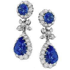 sapphire diamond 14k white gold earrings 1