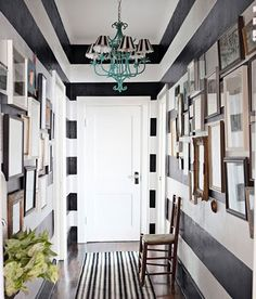 Dream Foyer ~ Love the Stripes & Turquoise Chandelier
