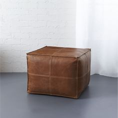leather pouf | CB2