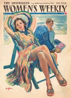 Cover artwork for the 3 February issue of the Australian Women's Weekly magazine, Australia, 1940, by William Edwin Pidgeon.