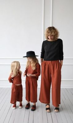 All our clothes are handmade in our studio, we use locally woven linen fabric. Mode Plus, Culottes, Mom Daughter, Casual Look, Matching Outfits, Kind Mode, Fashion Kids, Linen Fabric, Kids Outfits