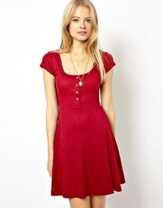 ASOS Skater Dress In Rib With Half Button Placket