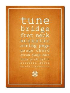 tune, bridge, fret, neck, acoustic, string, pegs, gauge, chord, strum, pluck, solo, body, pick, nylon, electric, steel, scale, harmonic
