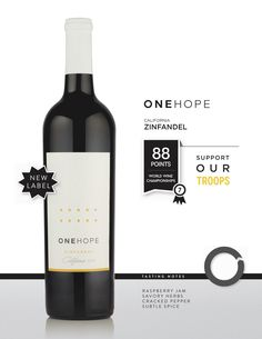 ONEHOPE Wine California Zinfandel supports veterans and disaster relief.  $18.99/bottle  #viaonehope #onehope #wine #charity #veterans