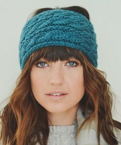 Teal Cable-Knit Head Wrap #hat #womens