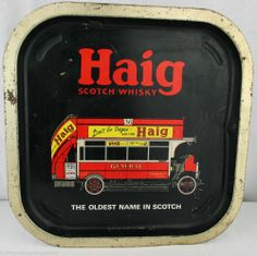 Cheers, Darhlings .....Haig Scotch Tray Whisky Square Bar Sign Collectable Red Bus Vintage Retro GC.  Available at Fab Frau now!