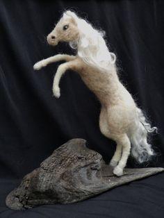 Items similar to OOAK Rearing Palomino horse sculpture. Handmade needle felted sculpture with driftwood base on Etsy Wool Needle Felting, Needle Felted Animals, Felt Animals, Animal Fibres, Felt Birds, Horse Sculpture, Palomino, Fiber Art, Arts And Crafts