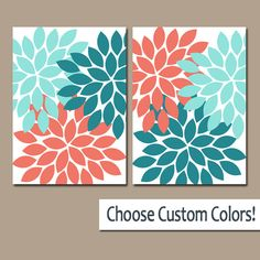 Hey, I found this really awesome Etsy listing at https://www.etsy.com/listing/249455820/coral-aqua-teal-wall-art-canvas-or