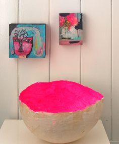 Paper mache bowl painted neon