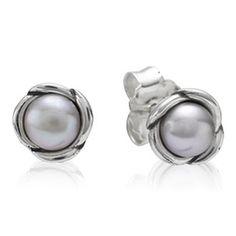 Pandora Sterling Silver Grey Freshwater Pearl Flower Studs 290157GP
