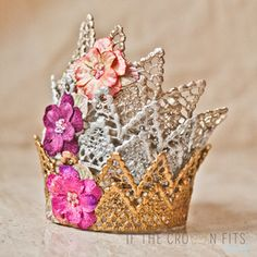 Introducing Cami, the flower adorned version of the Camelot crown. Shown in three variations, Shimmer Champagne (top), Shiny Silver (middle), and V. Little Miss, So Little Time, Crafts For Kids, Arts And Crafts, Diy Crafts, Photography Props, Newborn Photography, Newborn Crown, Cotton Crafts