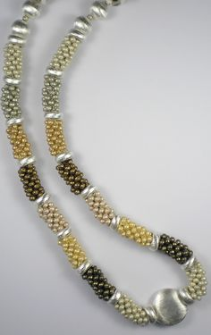 A bead crochet necklace made from a selection of our Miyuki 6/0 baroque-finish beads and beads from our silver-plated range. www.beadstampede.co.uk; photo copyright Frank Easton, FP Designers d/b/a Bead Stampede.