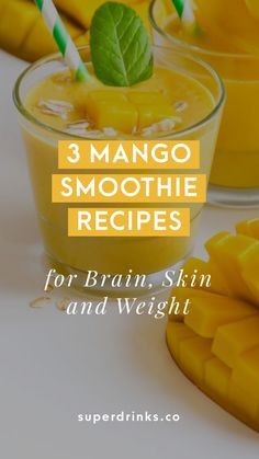 Mango Smoothie Recipes For Brain Skin and Weight] Mangos are a low-calorie treat that adds tropical flavors to your healthy smoothie. Here are our 3 best mango smoothie recipes for brain skin and weight that will have you bliss out under the mango tree. Mango Smoothie Healthy, Mango Smoothie Recipes, Smoothie Fruit, Blackberry Smoothie, Smoothie Detox, Apple Smoothies, Easy Smoothies, Healthy Drinks, Mango Recipes Healthy
