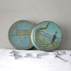 Old Blue Tins Bower Mints and Cookie Tin by thelostrooms on Etsy, $14.00