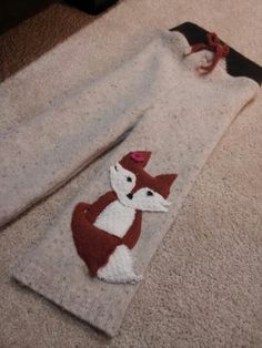 Elsa's foxy woolies- upcycled wool longies made by me. Cloth Diaper Covers, Cloth Diapers, Baby Sewing Projects, Cute Crafts, Upcycle, Applique, Sew Baby, Diapering, Crafty