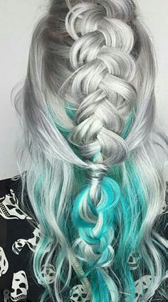 Silver and turquoise hair #haircolorgoals