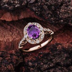 Engagement Ring with Oval Cut Amethyst set in Rose Gold Snowflake Engagement Ring, Purple Engagement Rings, Pink Diamond Ring, Round Cut Diamond, Blue Sapphire Rings, Gold Ring Photo, Wedding Rings For Women, Beautiful Rings, Pretty Rings