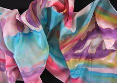 Hand painted silk scarf. Abstract painted scarf. Turquoise, pink, yellow, purple, blue, yellow, violet colors.  Painted art scarf.