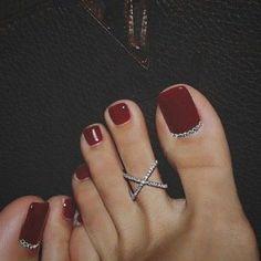– The Best Nail Designs – Nail Polish Colors & Trends Toe Nail Color, Toe Nail Art, Nail Polish Colors, Acrylic Nails, Red Polish, Wedding Toe Nails, Wedding Toes, Pretty Toe Nails, Pretty Toes