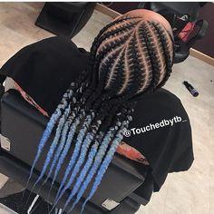 Blue n Black Cornrows