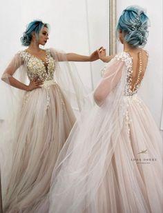 Bridal hair by me // updo // medium hair // Facebook: Adda Dobre Hairdesigner Girls Dresses, Flower Girl Dresses, Lace Wedding, Wedding Dresses, My Beauty, Blue Hair, Medium Hair Styles, Updos, Bridal Hair