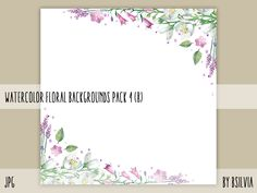 Watercolor Floral Backgrounds with Text Space #graphic #floral #background #digital scrapbooking