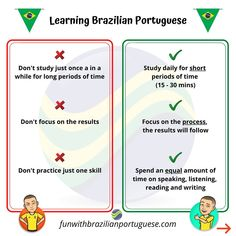 🇧🇷 The Do's and Don'ts of Learning Brazilian Portuguese 💥TELL ME: Do you agree with these? Is there anything else you would add? Learn Brazilian Portuguese, Portuguese Lessons, Stuff To Do, Study, Teacher, Learning, Tips, Studio, Professor