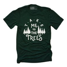 Trees Tee in emerald green is a screen printed t shirt with white water-based ink. With a retail fit, this incredibly soft t shirt is made out of a tri-blend of polyester, cotton, and rayon. This soft mens t shirts are unisex in wear. Plaid Shirts, Tee Shirts, Camp Shirts, Vinyl Shirts, Printed Shirts, Tee Tree, Hiking Shirts, Travel Shirts, Personalized T Shirts