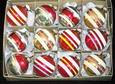 Box of 12 Vintage 1950's Christmas ornament by SouthernSisAntiques